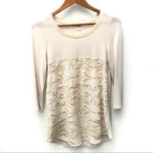Anthropologie Meadow Rue Capriccio lace tunic top